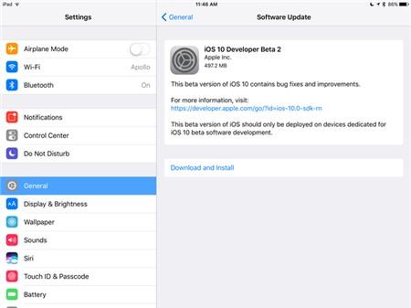 Da co iOS 10 beta 2 cho iPhone va iPad hinh anh 1