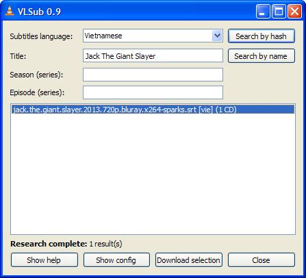 VLSub: Tìm kiếm phụ đề cho phim trên VLC