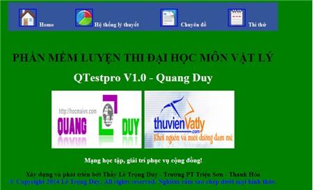 Phần mềm luyện thi đại học môn Vật lý Qtespro V.10 - Thầy Lê Trọng Duy