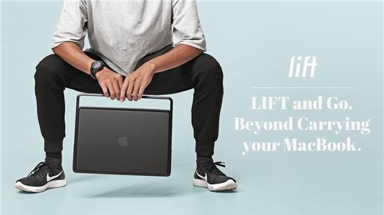 Lift & Go: vỏ bảo vệ + quai xách + đế nâng cho MacBook Pro