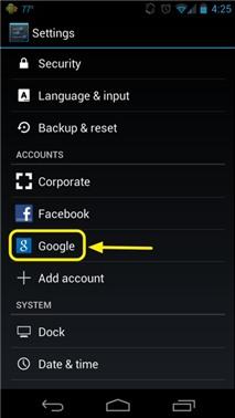 Xóa bớt tài khoản trên Android 4.0/4.1