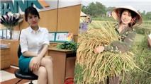 Phát sốt với hot girl ngân hàng cuối tuần phụ mẹ gặt lúa