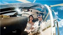 Xuýt xoa bộ ảnh cưới lần đầu tiên được chụp trên máy bay trực thăng