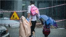 Hình ảnh ba cha con giữa trời mưa lớn lay động triệu con tim mạng
