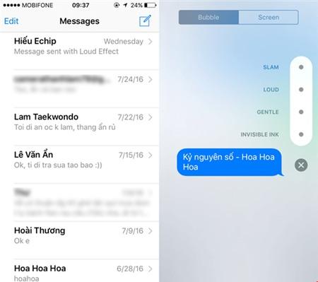 Gửi tin nhắn iMessage kèm theo hiệu ứng